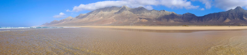 Famous beach Cofete on Fuerteventura, Spain. View on the beach Cofete on the Canary Island Fuerteventura, Spain stock photos