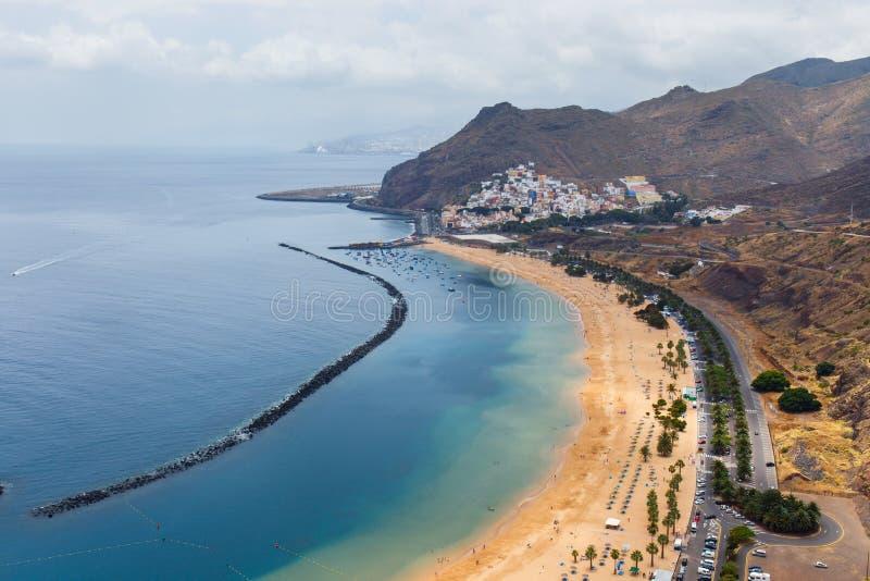 Famous beach Playa de las Teresitas,Tenerife. Canary islands, Spain royalty free stock photography