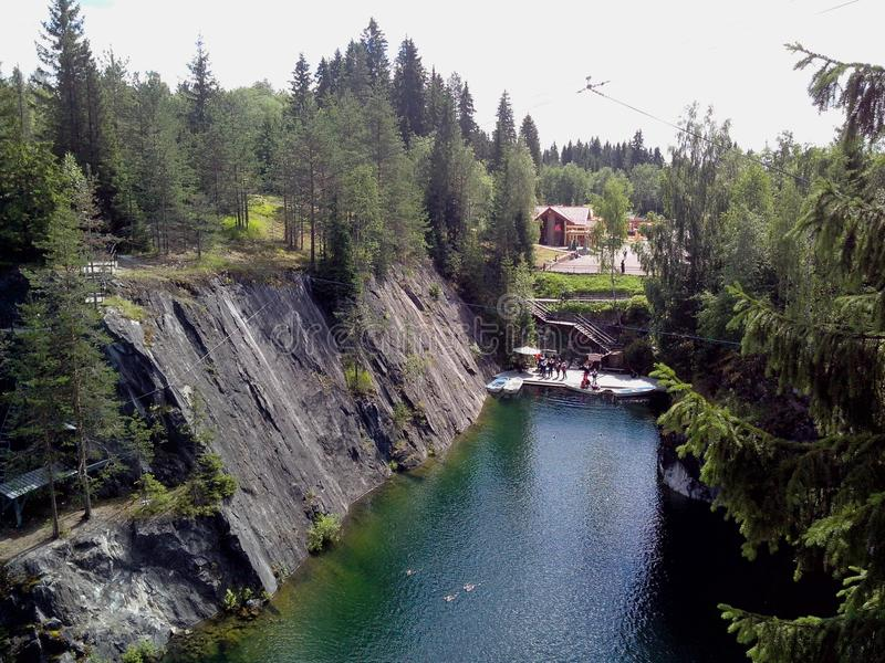 Famous beautiful marble quarry Ruskeala, Karelia, Russia stock photo