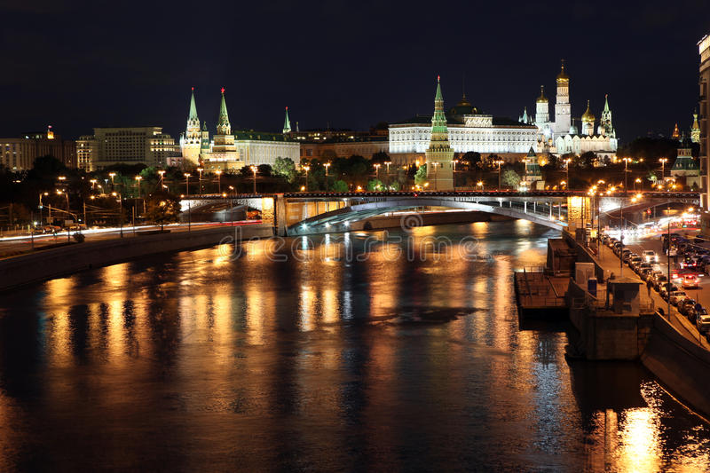 Famous and Beautiful Night View of Moskva river, Big Stone Bridge and Moscow Kremlin Palace with Churches in the summer, Russia stock photos