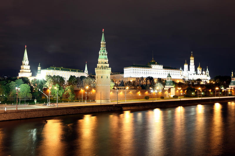 Famous and Beautiful Night View of Moskva river and Moscow Kreml. In Palace and Churches in the summer, Russia royalty free stock photos