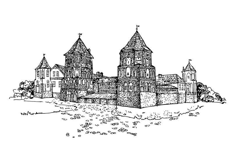 Famous Belarusian Castle. The medieval defensive castle. Castle building on the hill skyline etching. Hand drawn sketch royalty free illustration