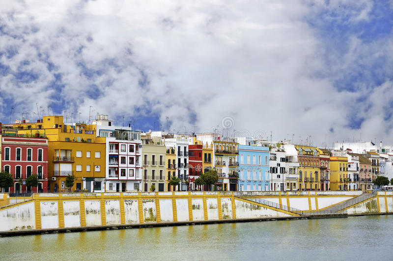 Famous Betis street in Triana district of Seville stock photos