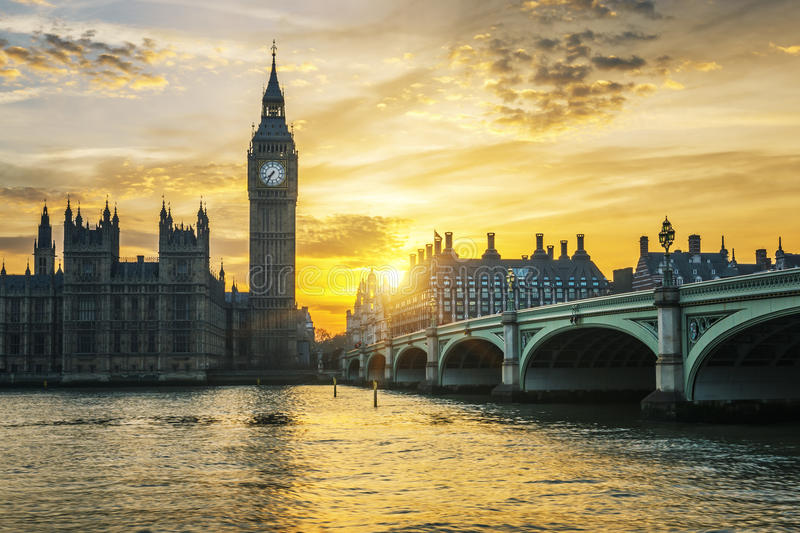 Famous Big Ben clock tower in London at sunset. UK stock image