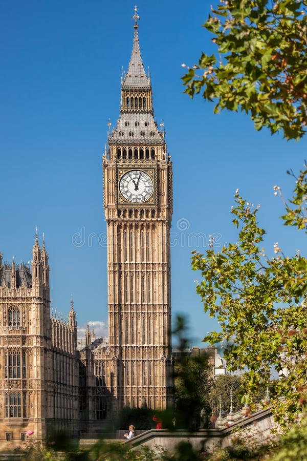 Big Ben and Houses of Parliament in London, England, UK royalty free stock photo