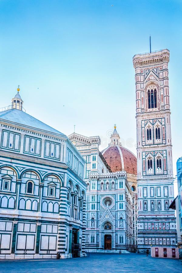 Famous Santa Maria del Fiore cathedral church with Baptistery in Florence. stock photos