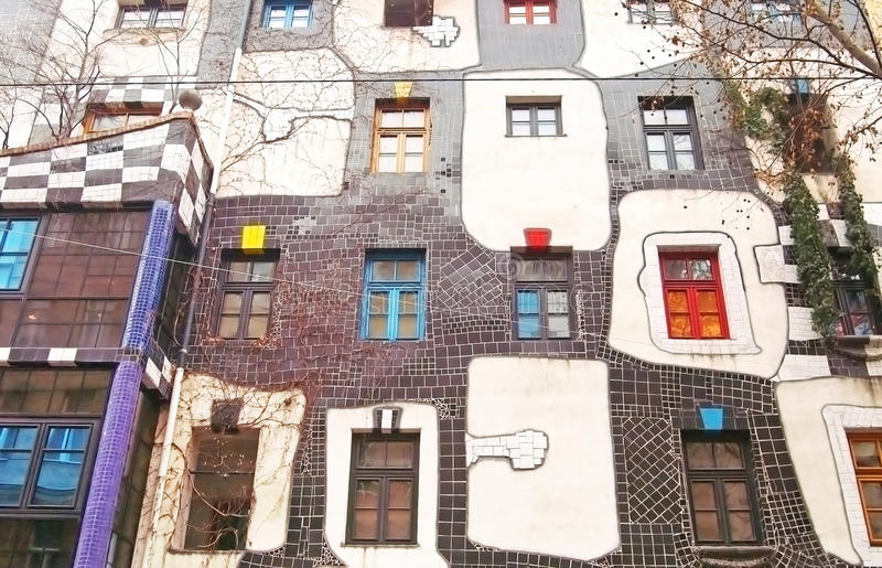 Famous and bizarre apartment blocks by architect Friedrich Hundertwasser royalty free stock image