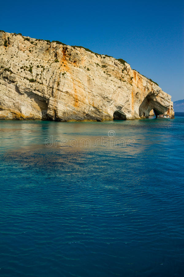 Famous blue caves view on Zakynthos island, Greece stock photo