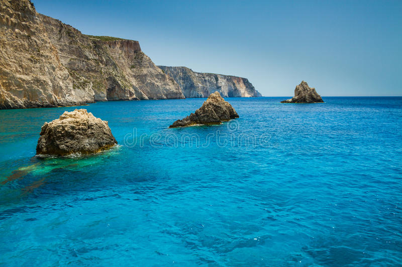 Famous blue caves view on Zakynthos island, Greece royalty free stock images