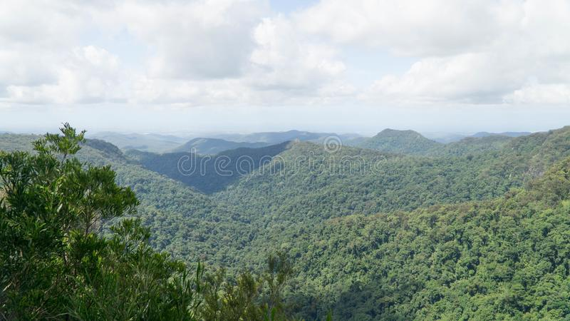 Famous The Blue Mountains National Park with its blue mist above eucalyptus trees, Australia royalty free stock images