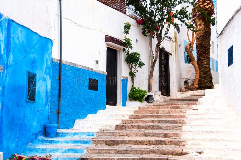 Famous blue and white streets of Kasbah of the Udayas in Rabat. Rabat, Morocco. Famous blue and white streets of Kasbah of the Udayas in Rabat. The capital of royalty free stock images