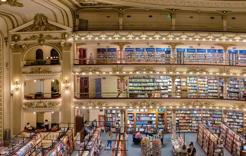 The famous bookshop El Ateneo Grand Splendid Buenos Aires Aregtina. Buenos Aires, Argentina - March 2016. The famous bookshop El Ateneo Grand Splendid. It's stock photo