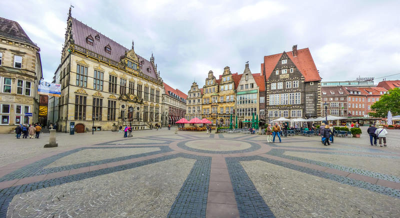 Famous Bremen Market Square in the Hanseatic City Bremen, Germany royalty free stock image