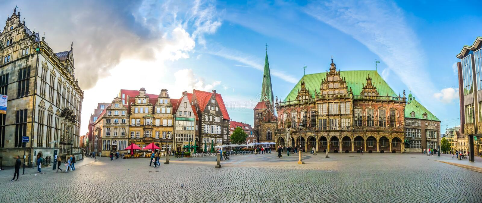 Famous Bremen Market Square in the Hanseatic City Bremen, Germany. Ancient Bremen Market Square in the centre of the Hanseatic City of Bremen with view on The royalty free stock image