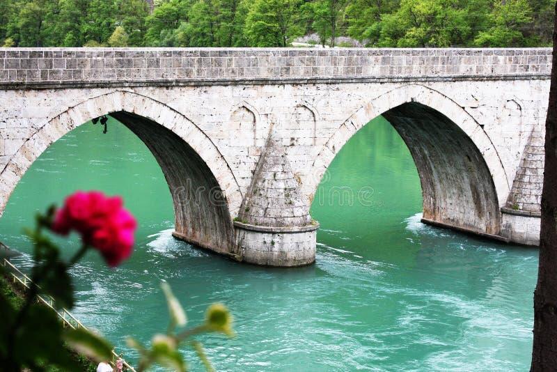 Famous bridge od the river Drina in Visegrad. Republika Srpska, Bosnia and Herzegovina stock photo