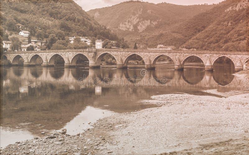 Famous bridge. Old fashion photo royalty free stock photos