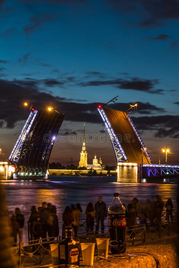 The Famous Bridges Of St. Petersburg. Drawbridge. Night city. City on Neva river. Palace bridge. Palace embankment. The city lights at night. Northern capital stock photo