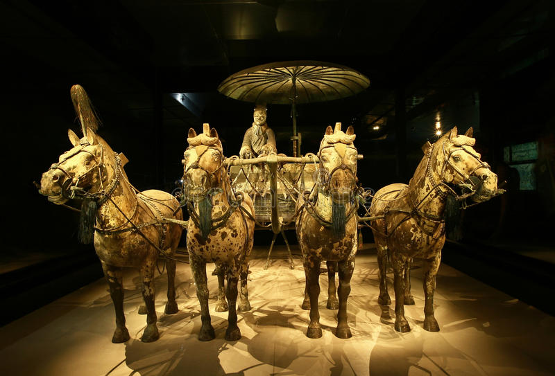 Famous bronze chariot in Xian, China. The famous bronze chariot of China's first emperor Qin Shihuang. The bronze chariot is part of the terracotta army museum royalty free stock photo
