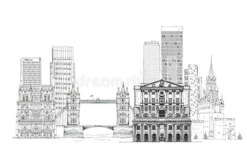 Famous buildings of Europe London, Paris, Moscow. Travel and business background royalty free illustration