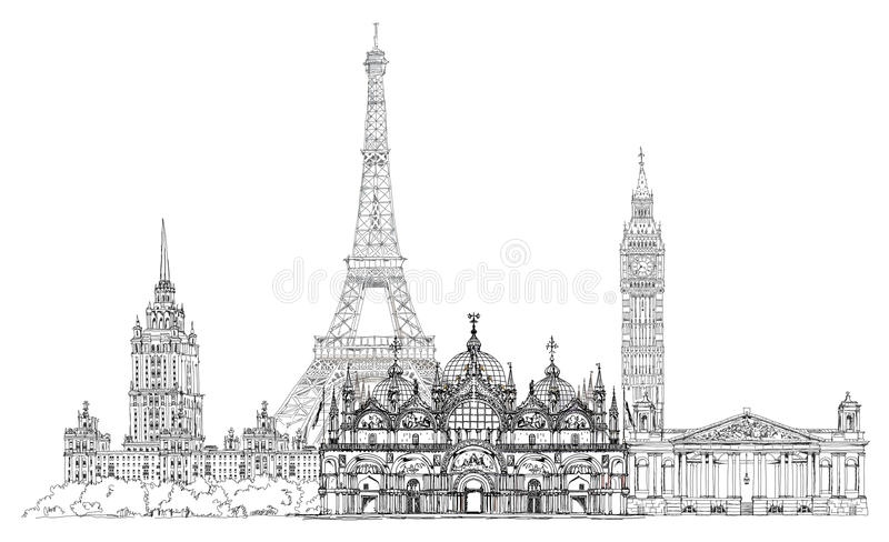 Famous buildings of Europe London, Paris, Moscow. Travel and business background stock illustration