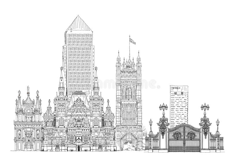 Famous buildings of Europe London, Paris, Moscow, Venice. Travel and business background royalty free illustration