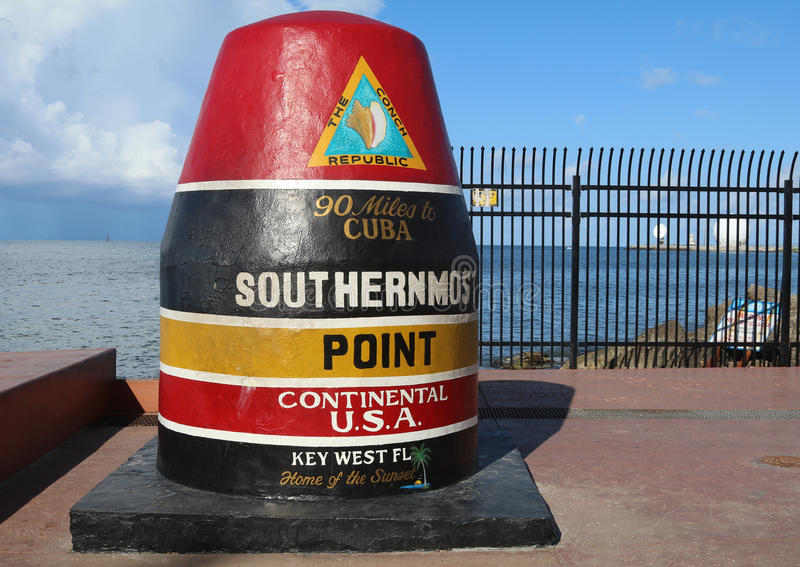 Famous Buoy sign marking the southernmost point in Continental United States in Key West, Florida. KEY WEST, FLORIDA - JUNE 1, 2016: Famous Buoy sign marking the stock photo