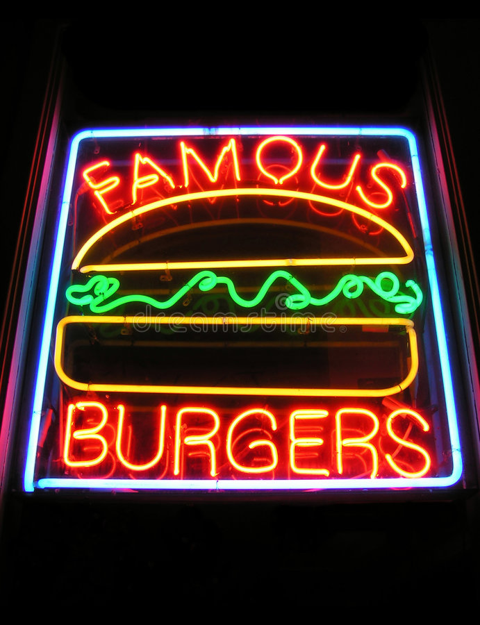 Download Famous Burger Neon Sign stock image. Image of store, grill - 421061