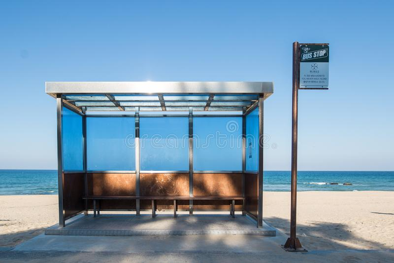 A famous BTS bus stop. A famous bus stop in gangwon. The bus stop is the venue they took their photos for their album `you never walk alone royalty free stock images