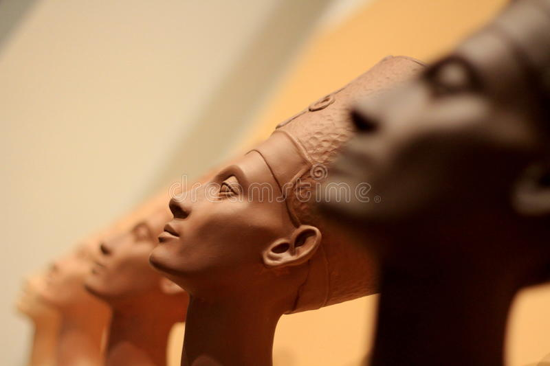 Famous bust of Queen Nefertiti. Famous busts of Queen Nefertiti revisited by Fred Wilson at the Brooklyn Museum, New York royalty free stock photo