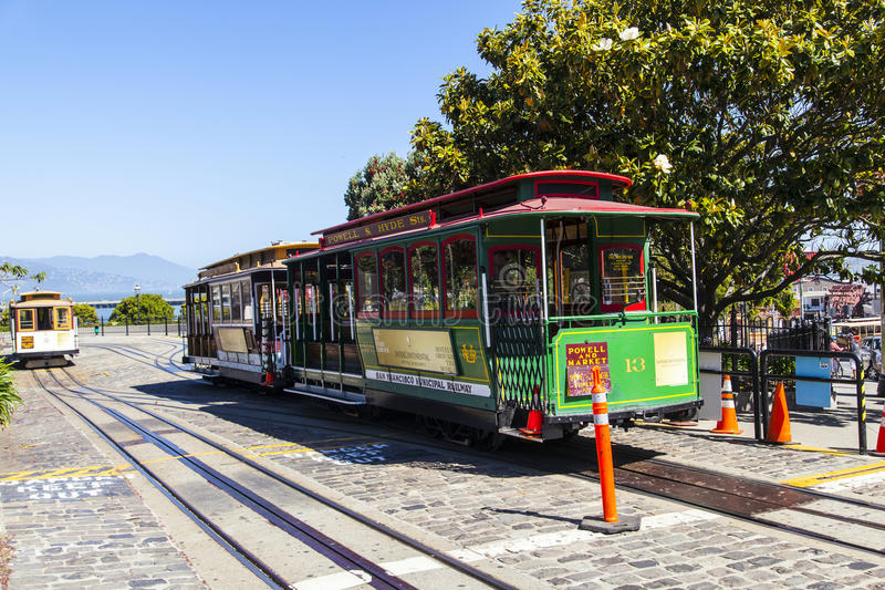 Famous Cable Car Bus in Powell. SAN FRANCISCO - JUNE 20: Famous Cable Car in Powell and Market street on June 20, 2012 in San Francisco, California. Cable car stock images