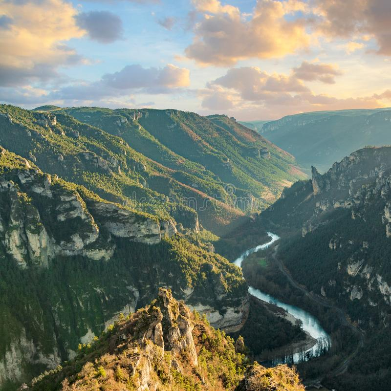 Free Famous Canyon, Valley Gorges Of Tarn With River And Mountain Under The Sunset Lozere, Linguedoc-Roussillon, France, Royalty Free Stock Photo - 163526865