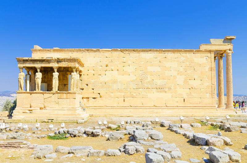 Famous caryatids at Temple of Erechtheum in Acropolis. Athens, Greece royalty free stock photography