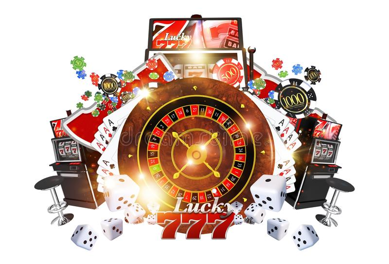 Famous Casino Games Concept. 3D Render Illustration. Casino Roulette, Poker, Slot Machines and Other Money Games Isolated on White Background stock illustration