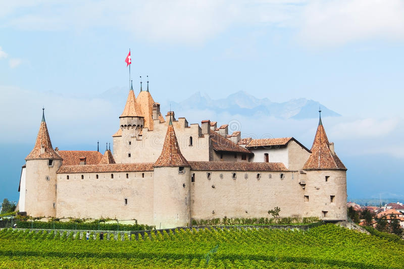 Famous castle Chateau d`Aigle in canton Vaud, Switzerland royalty free stock image