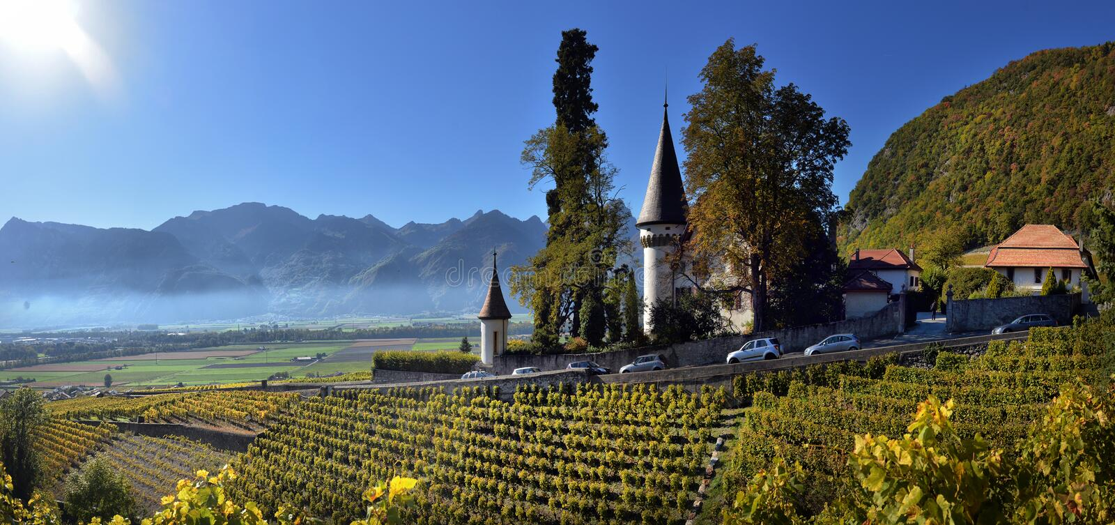 Famous castle Chateau maison blanche in canton Vaud. Switzerland, SWISS royalty free stock photography