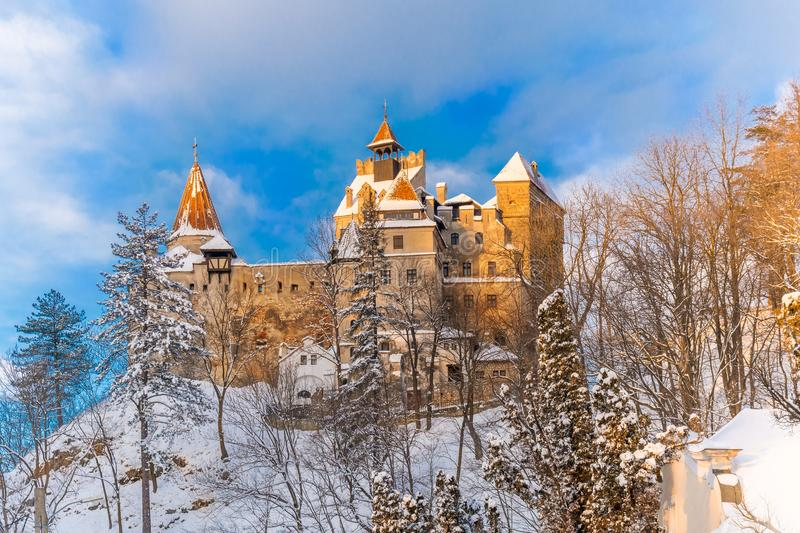 Famous Bran castle in winter royalty free stock photography
