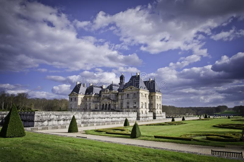 The famous castle Vaux le Vicomte. The castle of Vaux-le-Vicomte, located on the territory of the French commune of Maincy, 50 km south-east of Paris, near Melun royalty free stock images