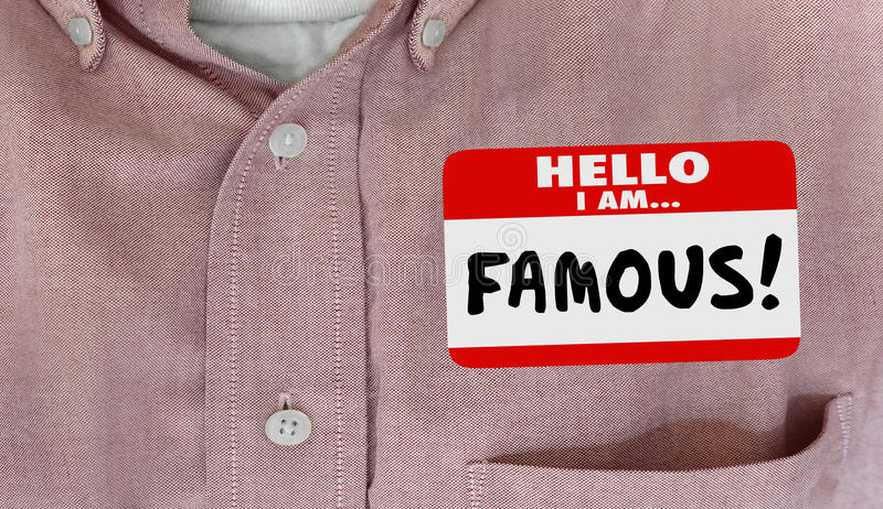 Famous Celebrity Hello Name Tag VIP Fame stock illustration