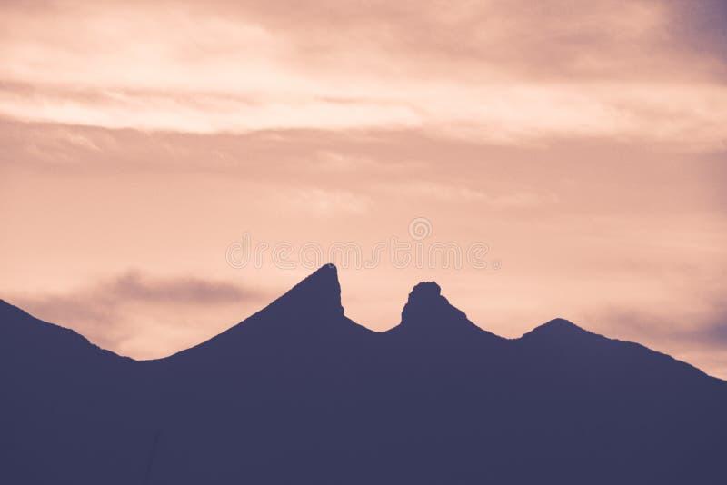 Famous mountain in Monterrey Mexico. Famous Cerro de la Silla mountain in Monterrey Nuevo Leon Mexico royalty free stock image
