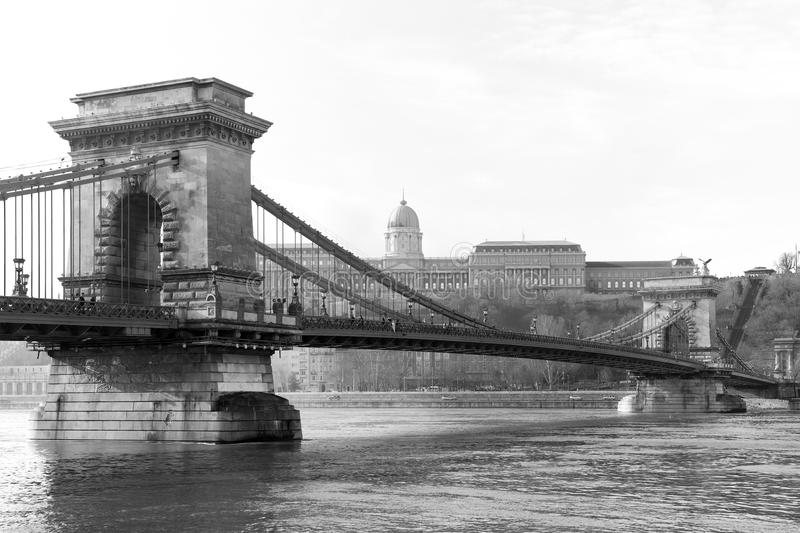 The famous Chain Bridge across the Danube river. The Buda Castle is in background, Budapest, Hungary, Europe. The Szechenyi Chain Bridge Széchenyi lánch stock image