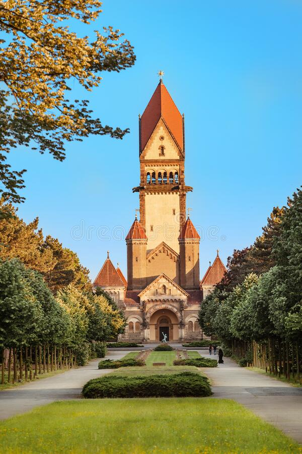 Famous chapel and crematory complex in South Cemetery in Leipzig, Germany. Architecture of famous chapel and crematory complex in South Cemetery in Leipzig royalty free stock photos