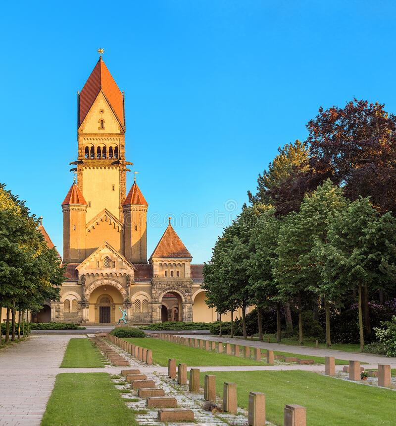 Famous chapel and crematory complex in South Cemetery in Leipzig, Germany. Architecture of famous chapel and crematory complex in South Cemetery in Leipzig stock photography