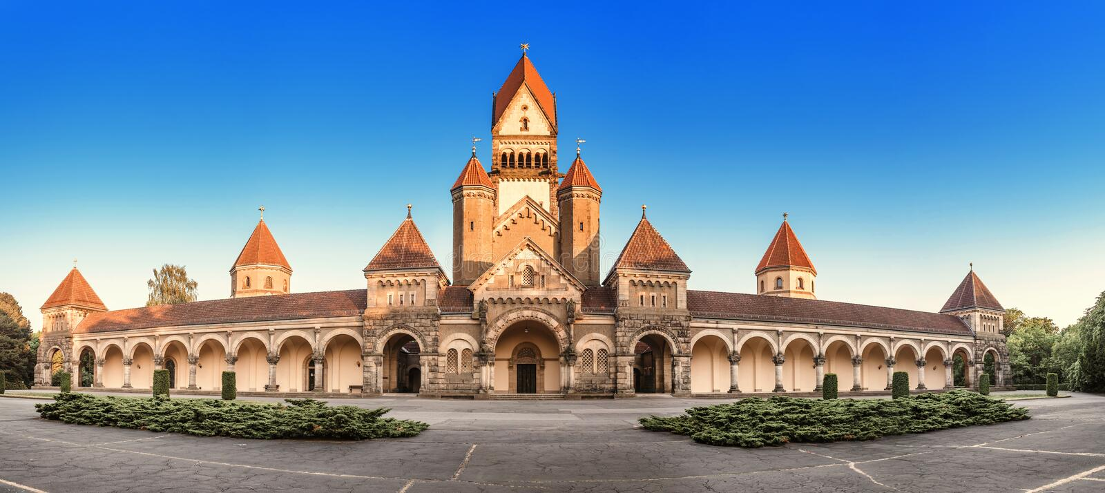 Famous chapel and crematory complex in South Cemetery in Leipzig, Germany. Architecture of famous chapel and crematory complex in South Cemetery in Leipzig stock photos