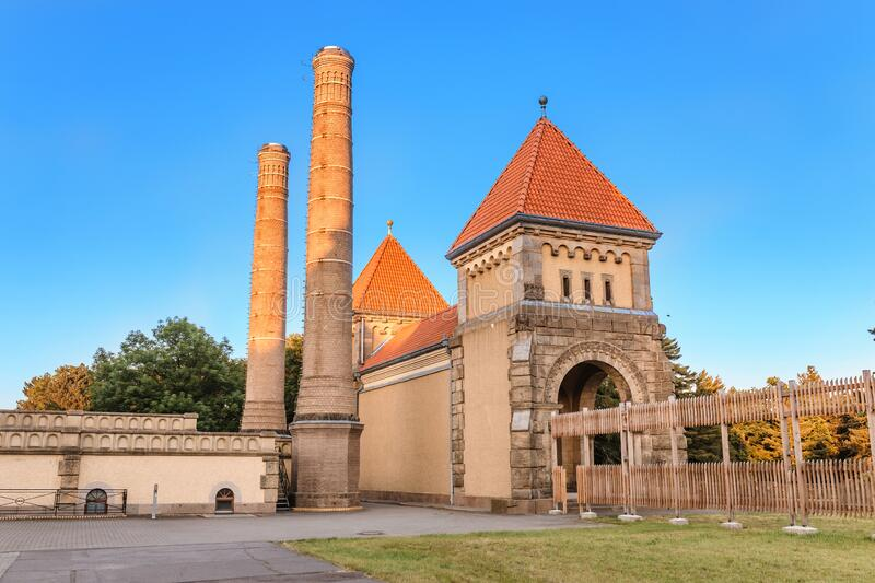 Famous chapel and crematory complex in South Cemetery in Leipzig, Germany. Architecture of famous chapel and crematory complex in South Cemetery in Leipzig stock photo