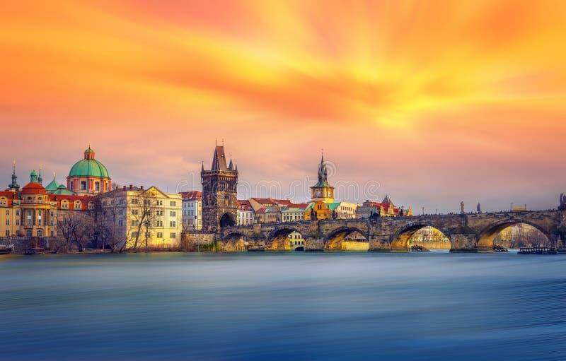 Famous Charles Bridge and tower, Prague, Czech Republic stock image
