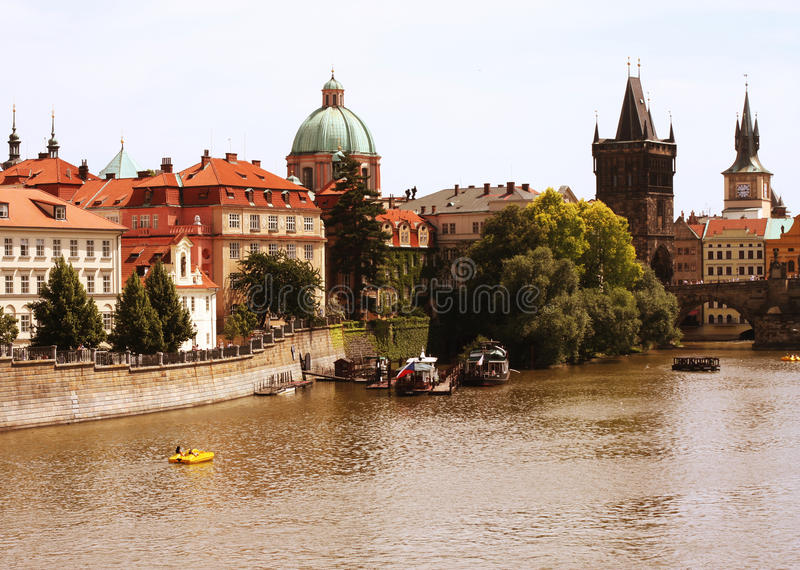 Famous Charles Bridge and tower, Prague stock images