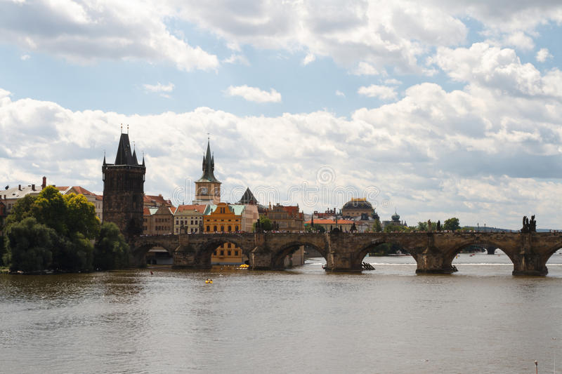 Famous Charles Bridge and tower, Prague, Czech royalty free stock photography