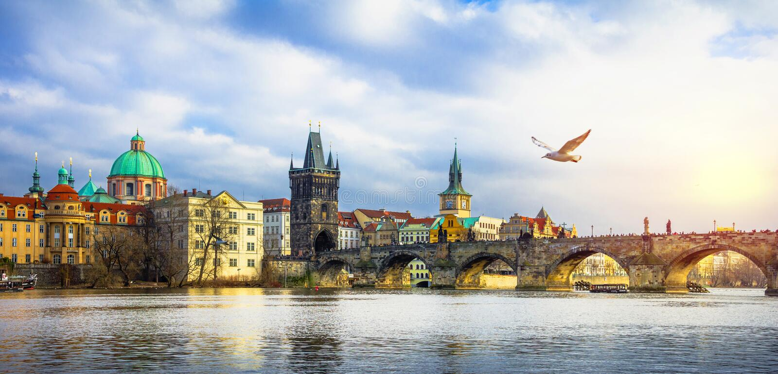 Famous Charles Bridge and tower, Prague, Czech Republic royalty free stock photo