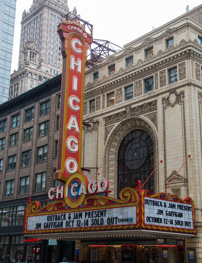 The Famous Chicago Theatre in Chicago stock images