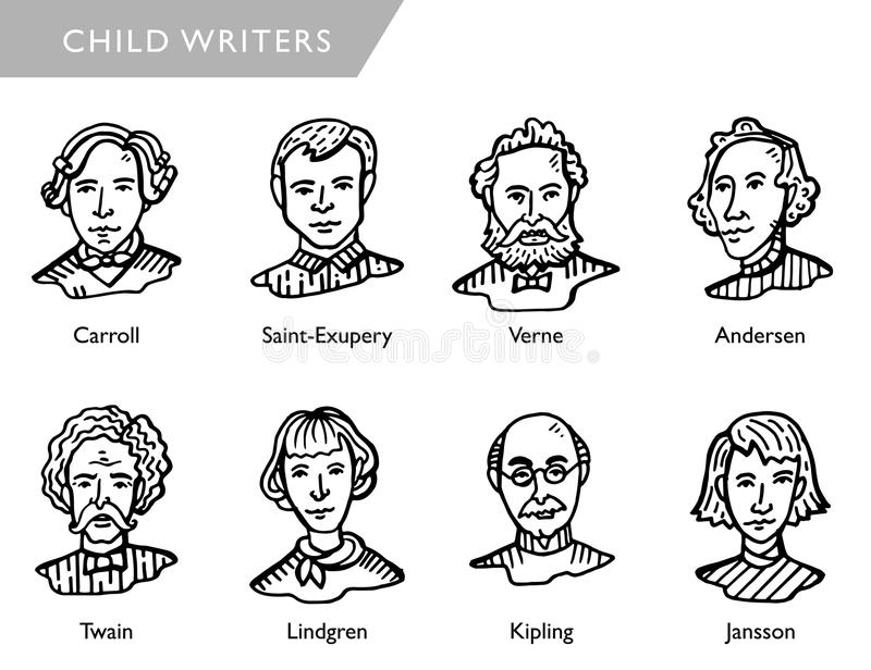 Famous children writers, vector portraits, Carroll, Saint-Exupery, Verne, Andersen, Twain, Lindgren, Kipling, Jansson. Most famous children writers, vector stock illustration